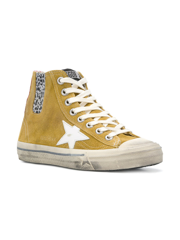 GOLDEN GOOSE | V-Star High Top Sneakers in Mustard