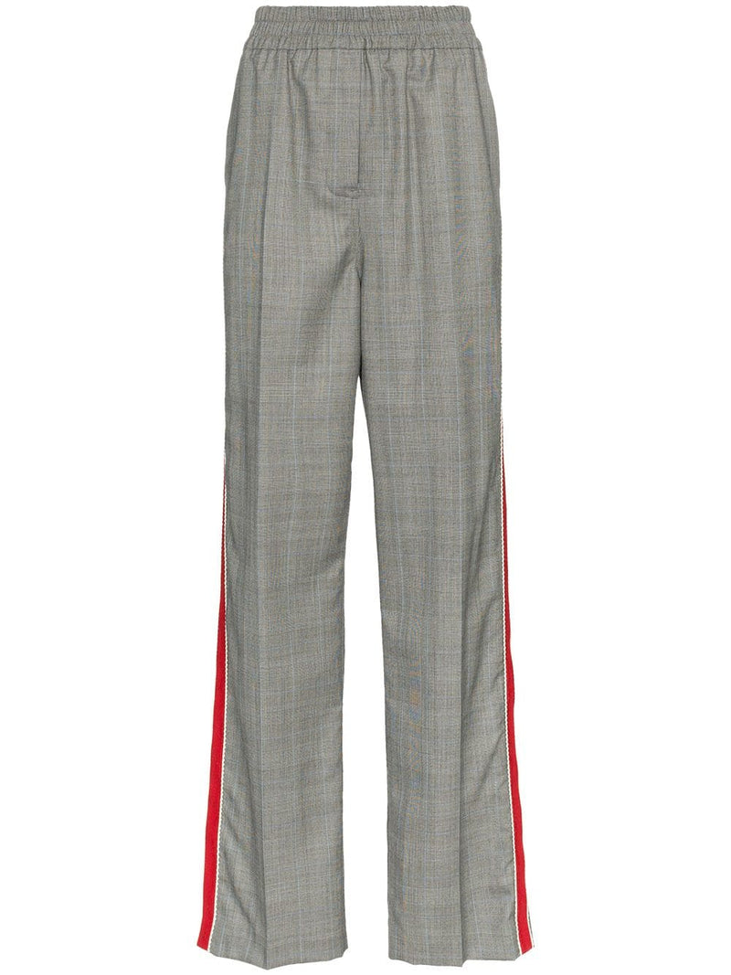 CALVIN KLEIN 205W39NYC | Plaid Worsted Wool Wide-Leg Trousers With Side-Stripes