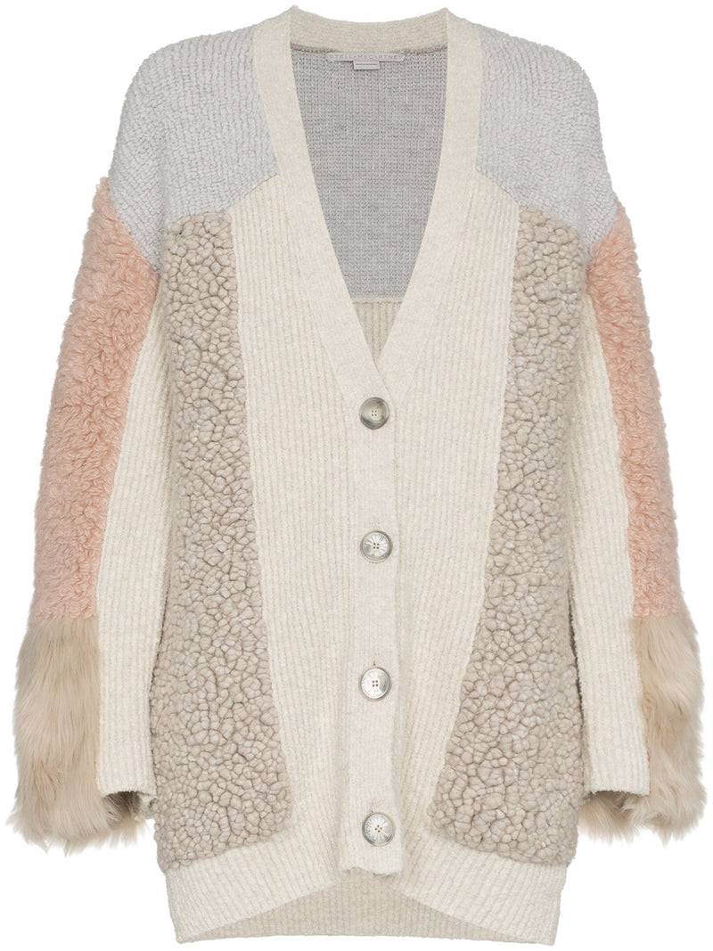 STELLA MCCARTNEY | V-Neck Button-Front Mixed-Media Cardigan