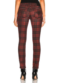 R13 | Kate Skinny Jeans in Red Plaid Print