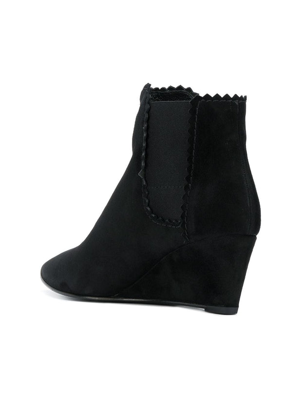PEDRO GARCIA | Ona Wedge Ankle Boot in Black Luxe Suede