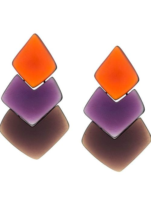MONIES | Layered Drop Earrings in Purple and Orange