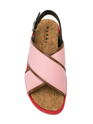 MARNI | Wedge Criss-Cross Sandals in Pink