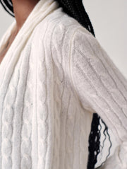 WHITE + WARREN | Cashmere Cable Cardigan in Pearl