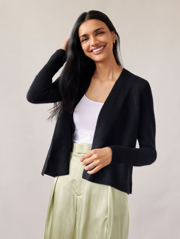 WHITE + WARREN | Cashmere Ruched Back Cardigan in Black
