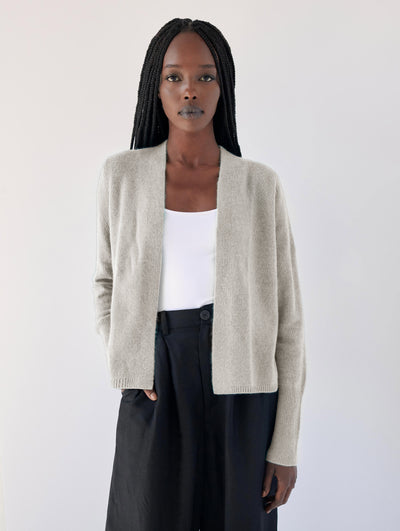 WHITE + WARREN | Cashmere Ruched Back Cardigan in Pearl
