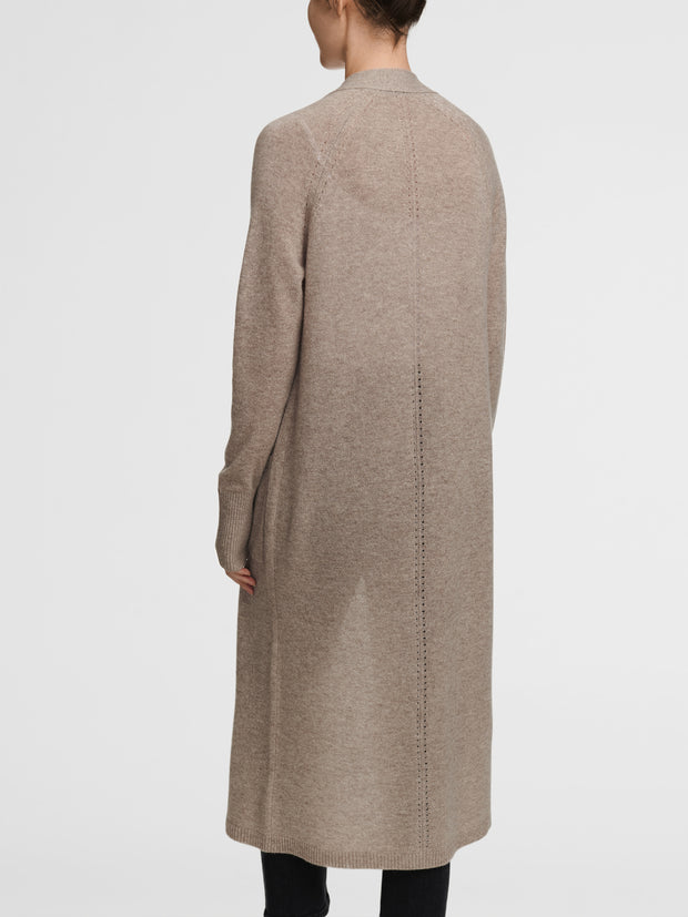 WHITE AND WARREN | Cashmere Luxe Long Cardigan in Oak