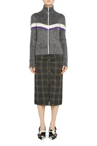 N°21 | Zip-Front Cardigan with Chevron Stripe Detail in Grey