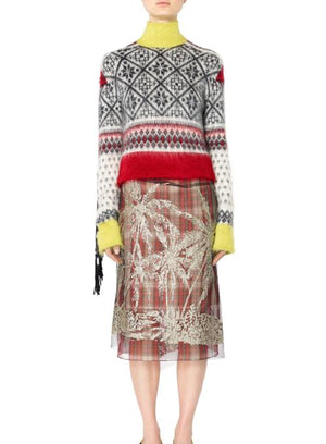 N°21 | Fair Isle Sequin Sleeve Turtleneck Sweater