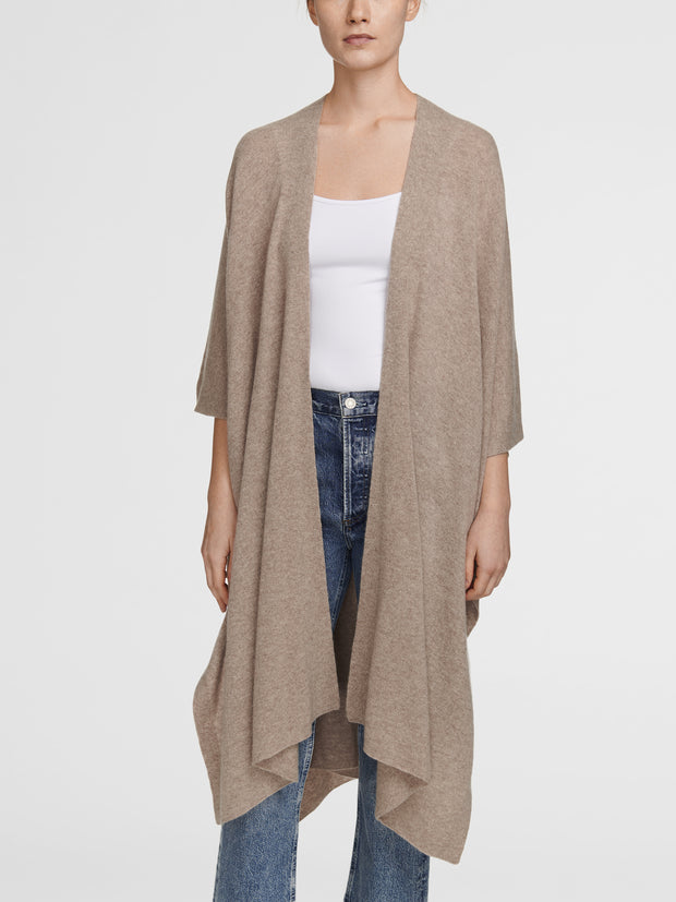 WHITE + WARREN | Cashmere Long Poncho in Oak