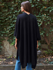 WHITE + WARREN | Cashmere Long Poncho in Black