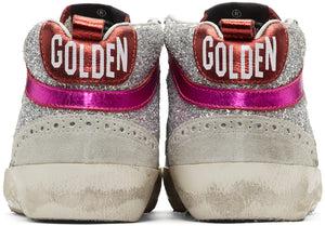 GOLDEN GOOSE | Silver & Pink Glitter Mid-Star Sneakers