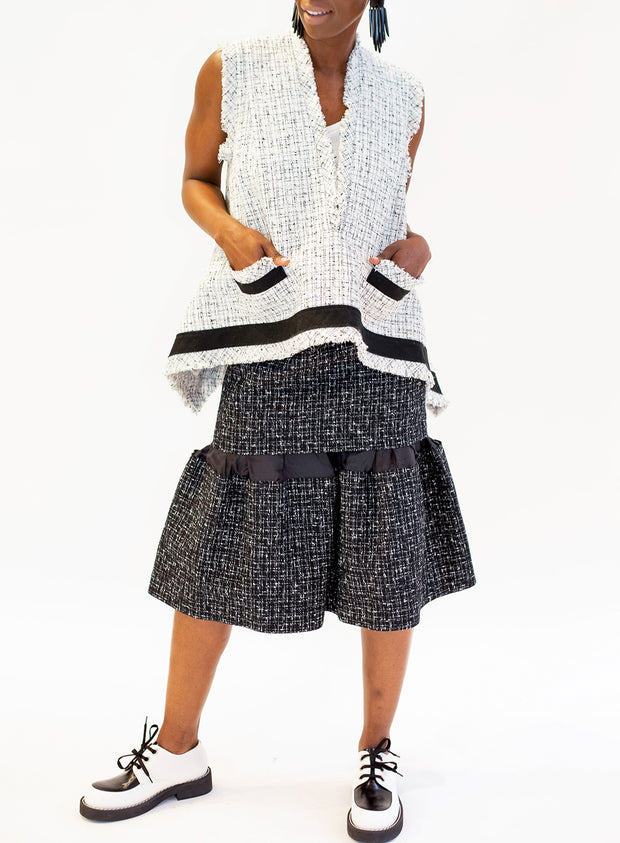 SACAI | Summer Tweed Mid-Length Skirt