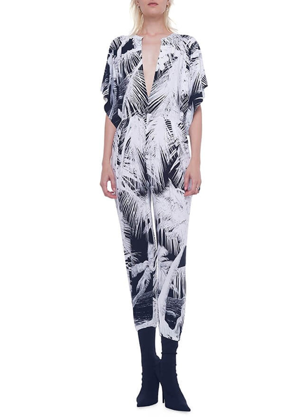 NORMA KAMALI | Rectangle Stretch-Jersey Jumpsuit in Palm Beach Print