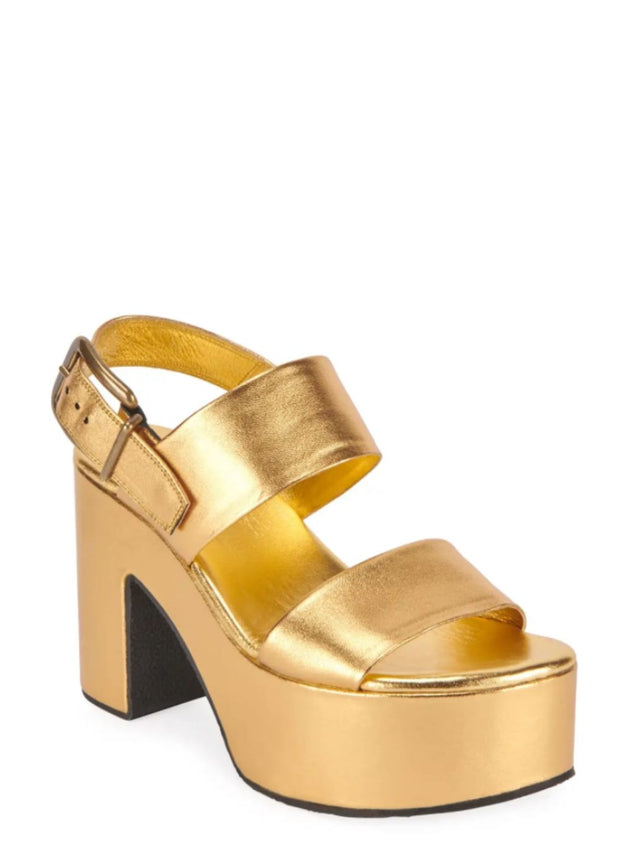 DRIES VAN NOTEN | Metallic Leather Platform Sandal