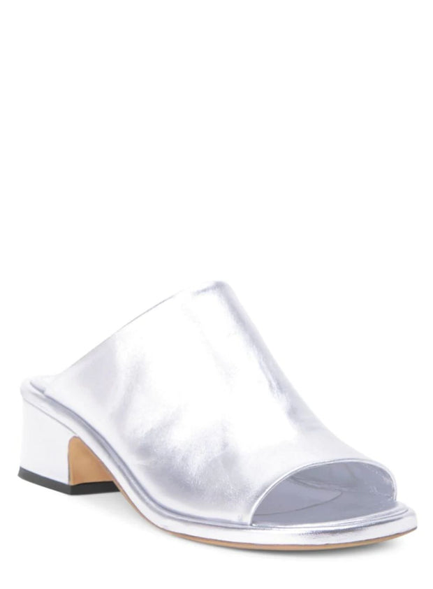 DRIES VAN NOTEN | Metallic Silver Leather Mule
