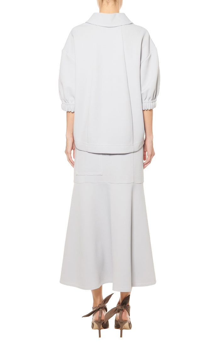 TIBI | Frisse Long Skirt in Storm Grey
