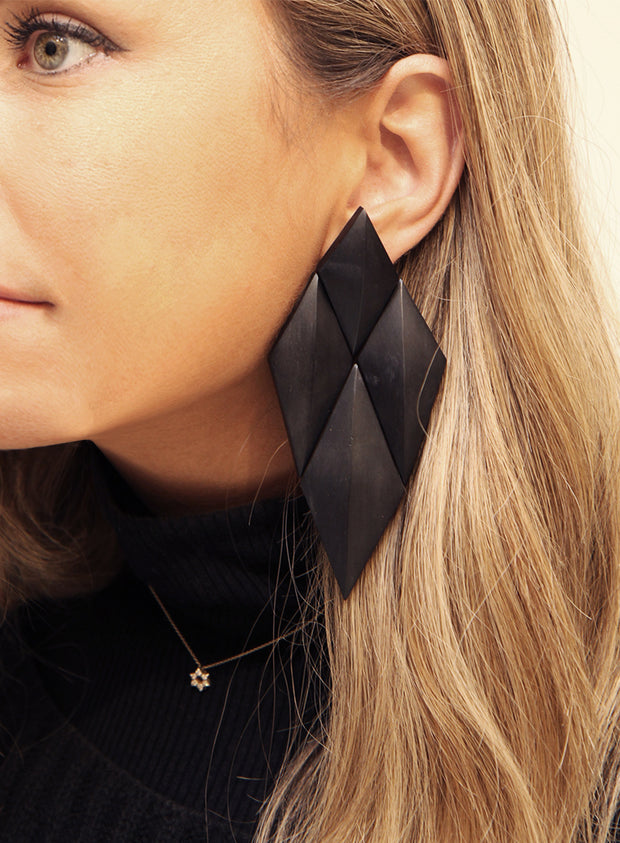 MONIES | Ebony Wood Geometric Drop Earrings