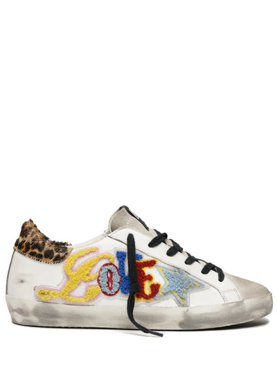 GOLDEN GOOSE | White Love Patch Superstar Sneakers