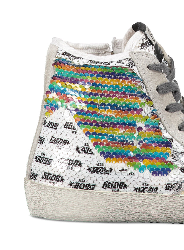 GOLDEN GOOSE | Rainbow Sequin Francy High-Top Sneaker