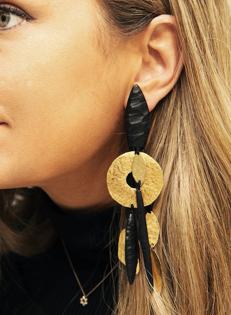 MONIES | Black and Gold-Toned Drop Earrings