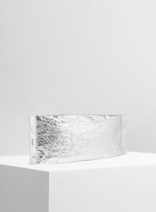 MM6 MAISON MARGIELA | Crinkled Silver Leather Clutch