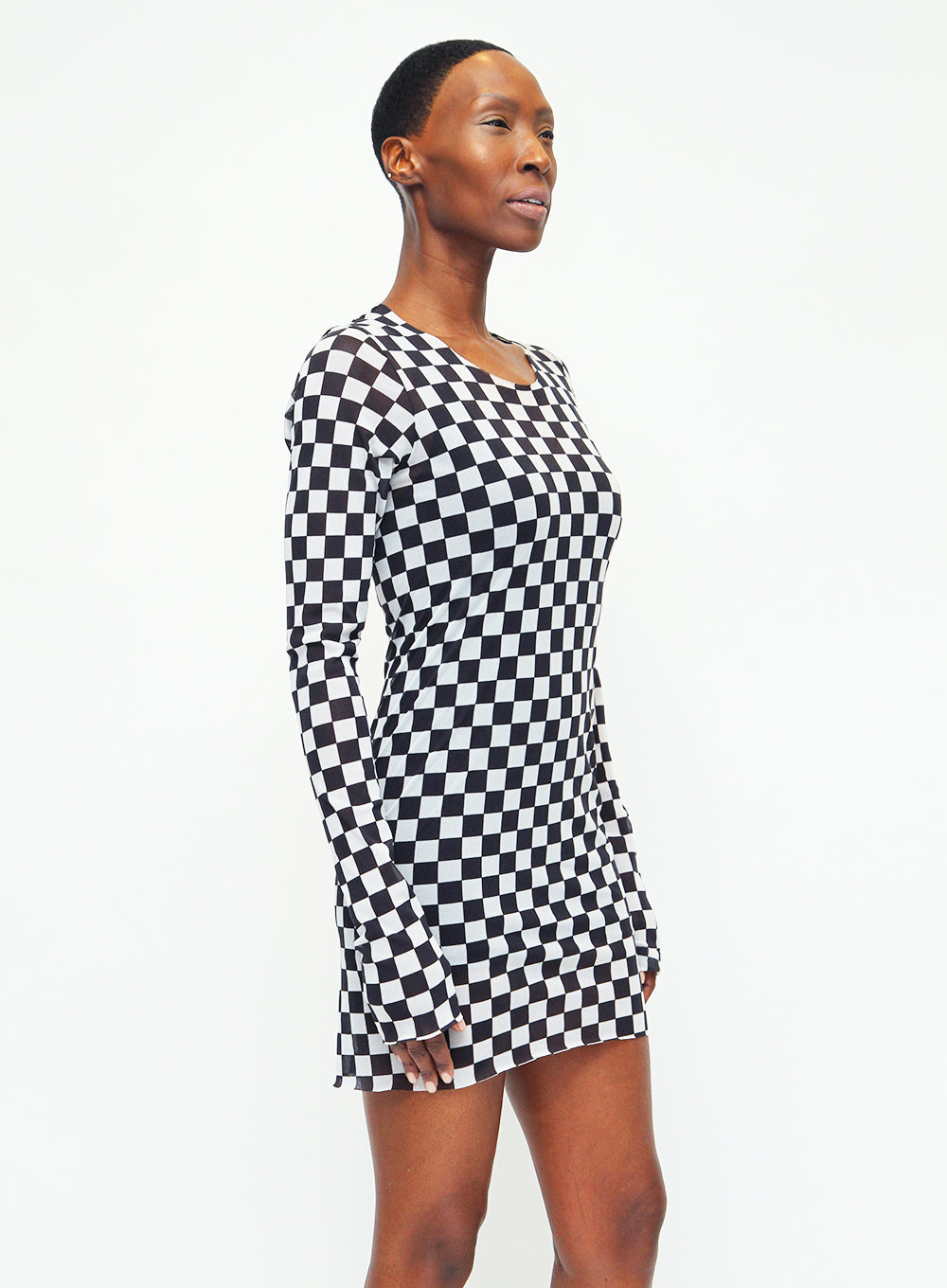 RUNDHOLZ | Black Label Sheer Checked Tunic Top