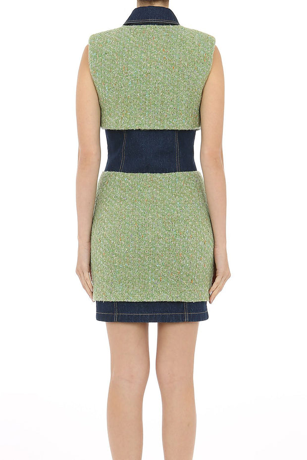 MOSCHINO | Tweed and Denim Dress