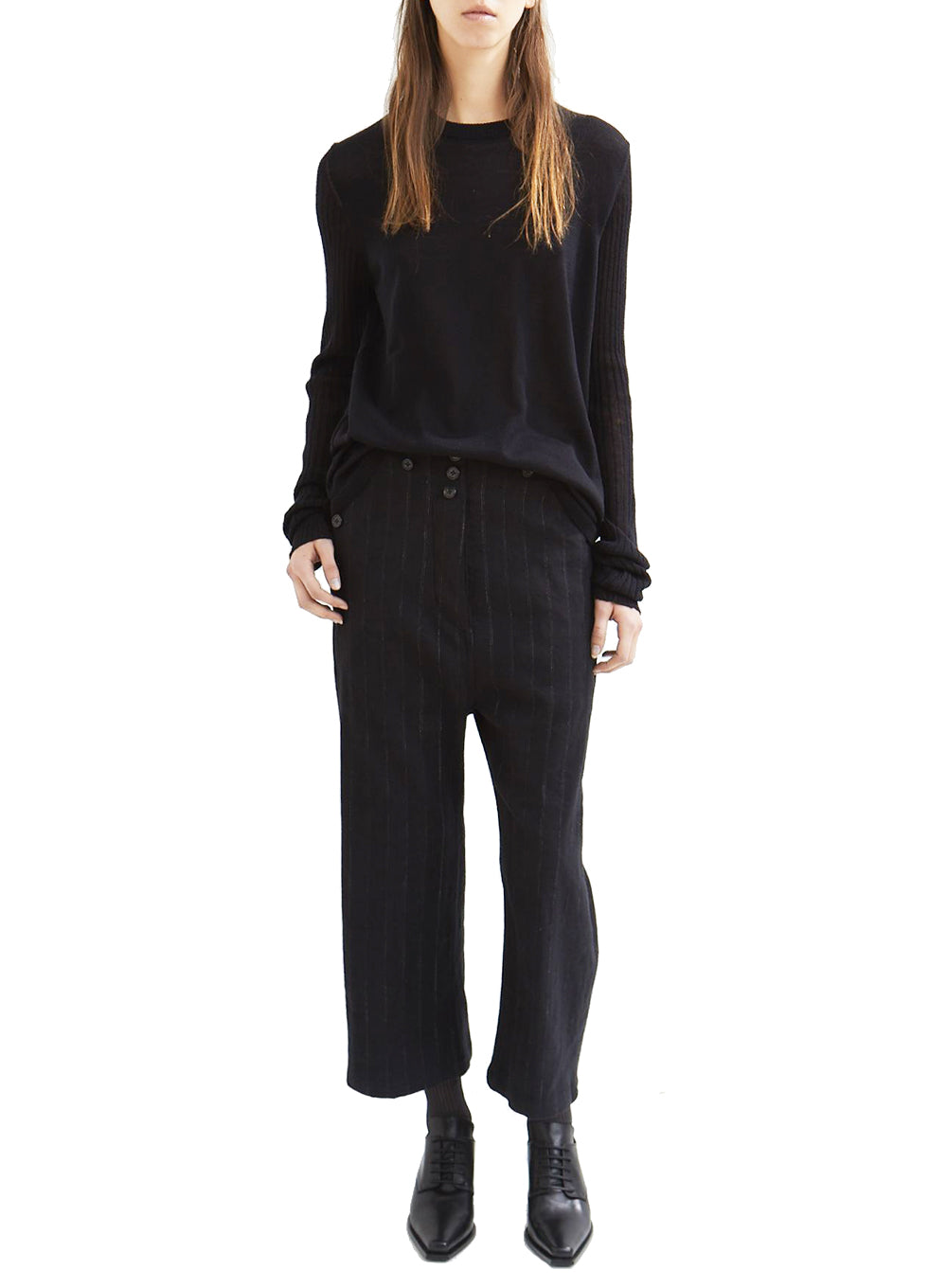 ANN DEMEULEMEESTER | Algernon Linen and Wool Pinstriped Trousers