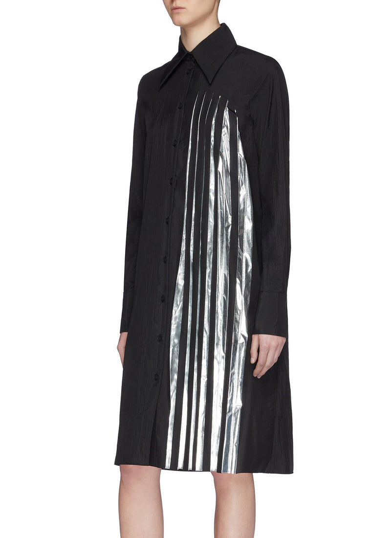 MAISON MARGIELA | Plisse Foil Pleated Panel Shirt Dress