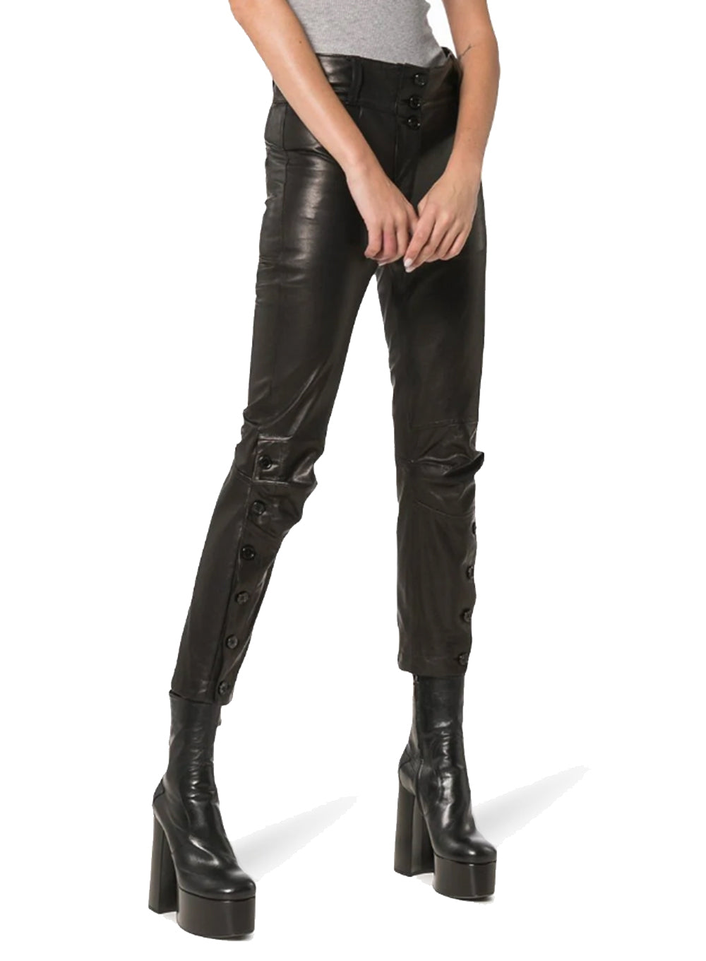 ANN DEMEULEMEESTER | Mid Rise Cropped Leather Trousers