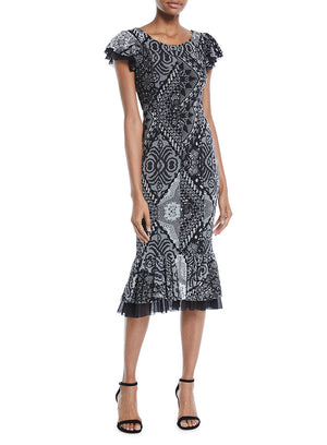 FUZZI | Stampa Crochet Flutter-Trim Dress