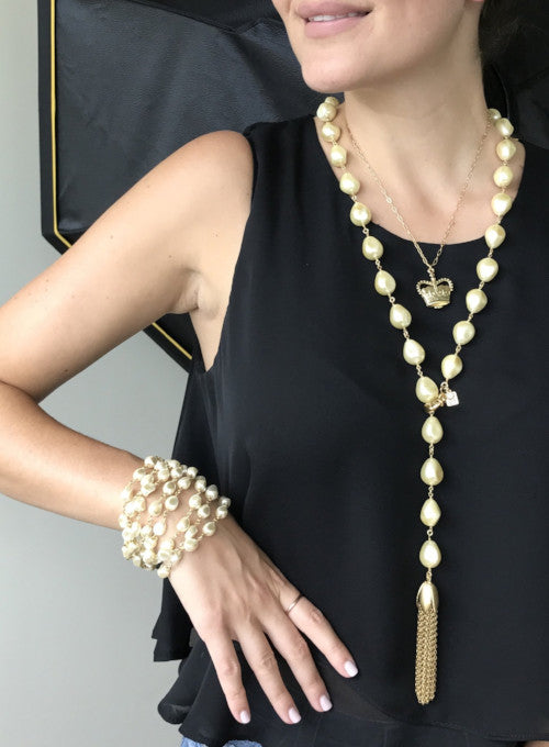 JOHN WIND JEWELRY | Baroque Pearl Lariat Necklace