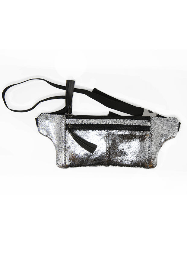 DANIELLA LEHAVI | Serena Cracked Metallic Belt Bag in Silver