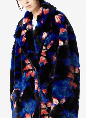 KENZO | Luxe Faux Fur Oversized Straight Coat in Black/Blue