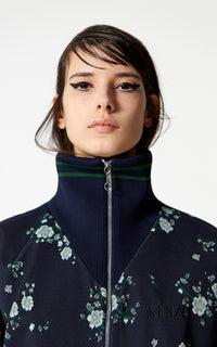 KENZO | High Collar Zipped Blouson in Navy Floral