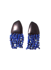 MONIES | Ebony and Lapis Lazuli Fringe Earring