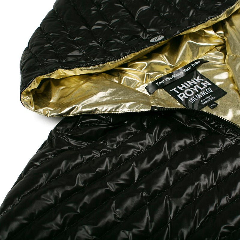 THINK ROYLN | Cropped Hi-Low Poncho in Black/Gold