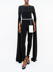 NORMA KAMALI | Open Back Ribbon Sleeve Jumpsuit