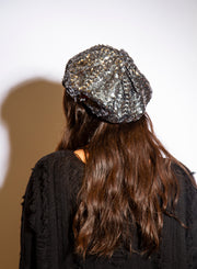 JEANNE SIMMONS | Sequin Beret in Dark Silver