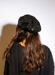 JEANNE SIMMONS | Sequin Beret in Black