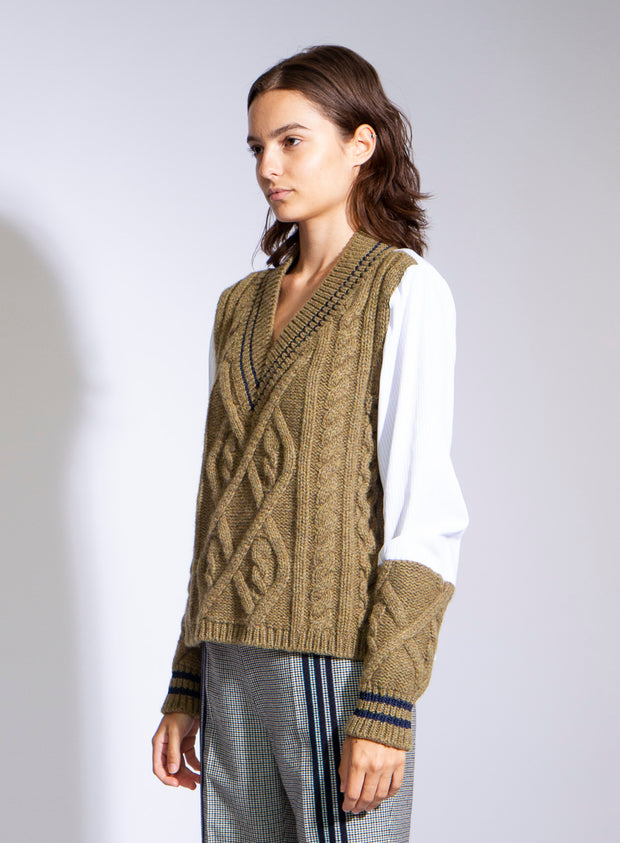 MAISON MARGIELA | Knitted Panel Sweater Top in Green