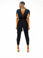 NORMA KAMALI | Ruched Square Sleeve Waterfall Jumpsuit