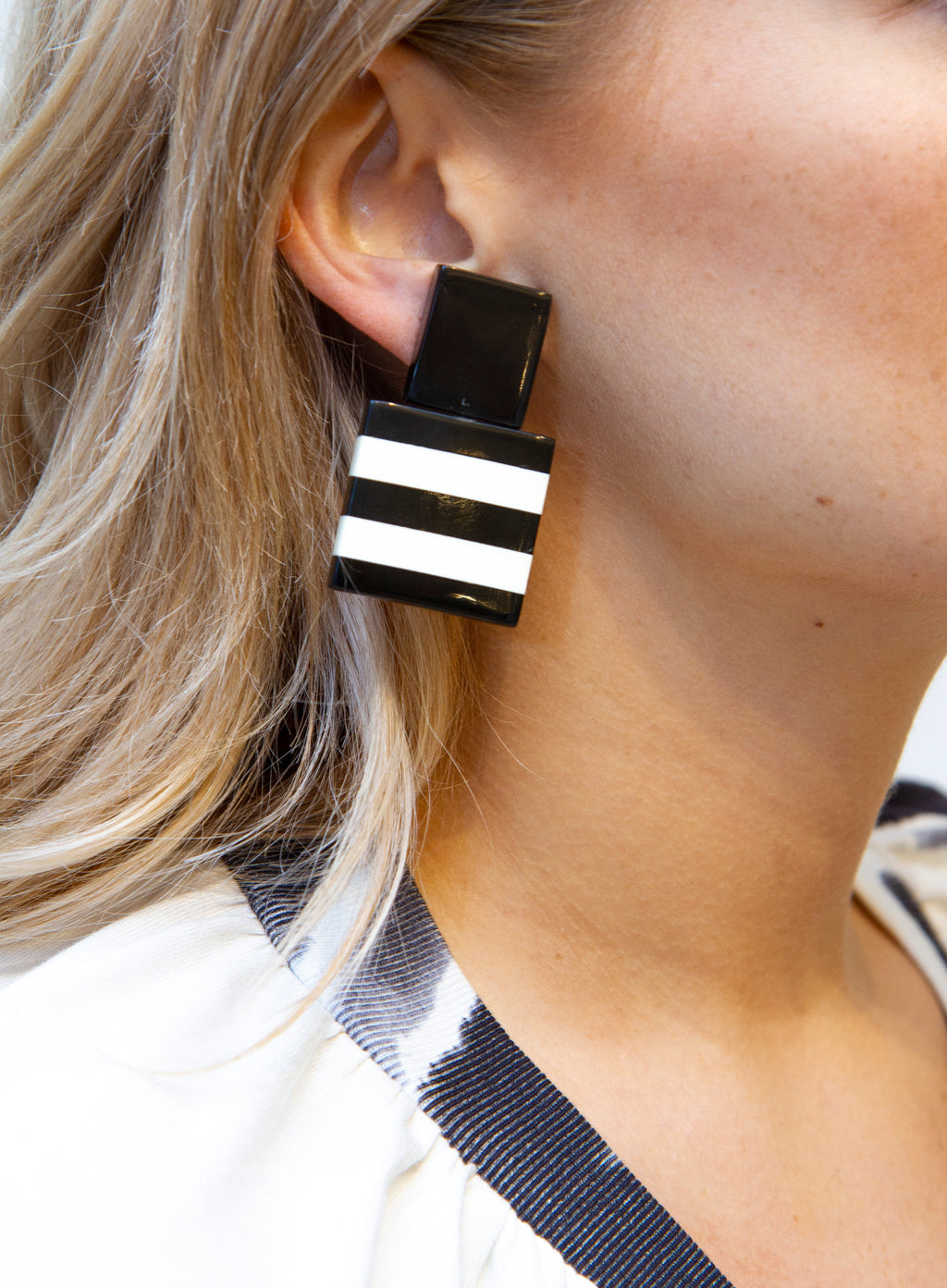 MONIES | Black & White Striped Square Drop Earrings