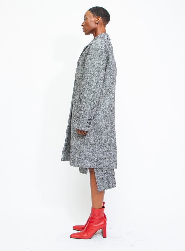 N°21 | Single-Breasted Herringbone Midi Coat