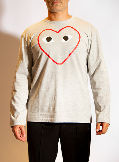 COMME DES GARÇONS PLAY | Mens Long Sleeve Open Heart T-Shirt in Grey