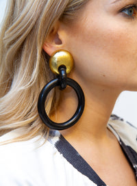 MONIES | Black and Gold-Toned Circular Earrings