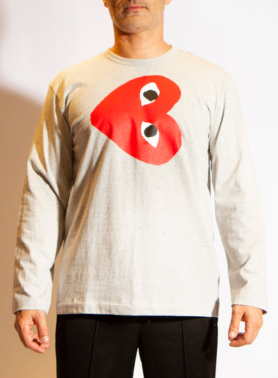 COMME DES GARÇONS PLAY | Mens Long Sleeve Closed Heart T-Shirt in Grey