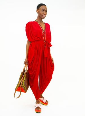 NORMA KAMALI | Ruched Square Sleeve Waterfall Jumpsuit in Red