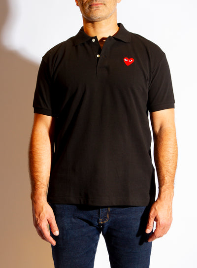 COMME DES GARÇONS PLAY | Mens Heart Collared Shirt in Black
